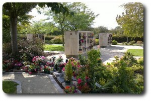 Fleurs de deuil dans un jardin funéraire